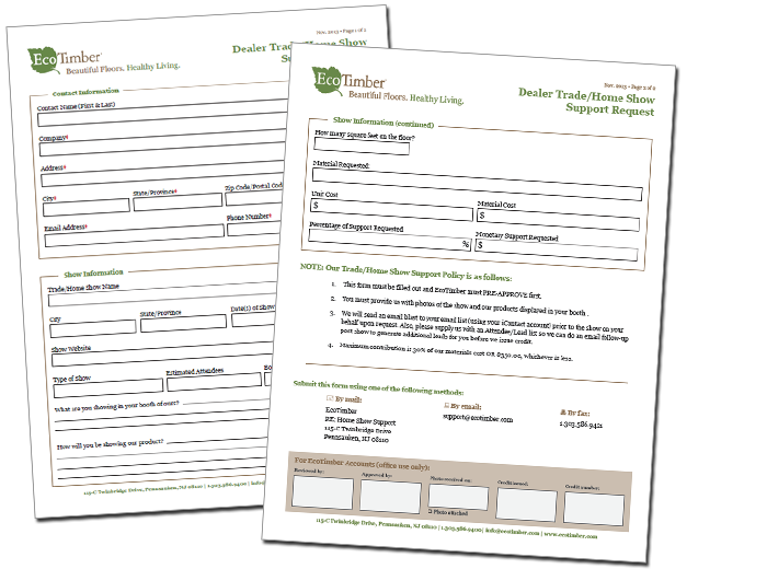 EcoTimber Trade and Home Show Support Form